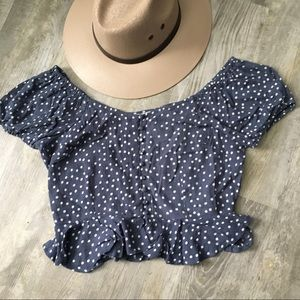 NWOT Planet Gold polka dot cropped peplum top
